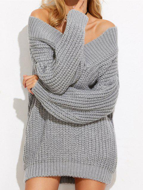 Mini Off The Shoulder Chunky Sweater Dress - GRAY ONE SIZE