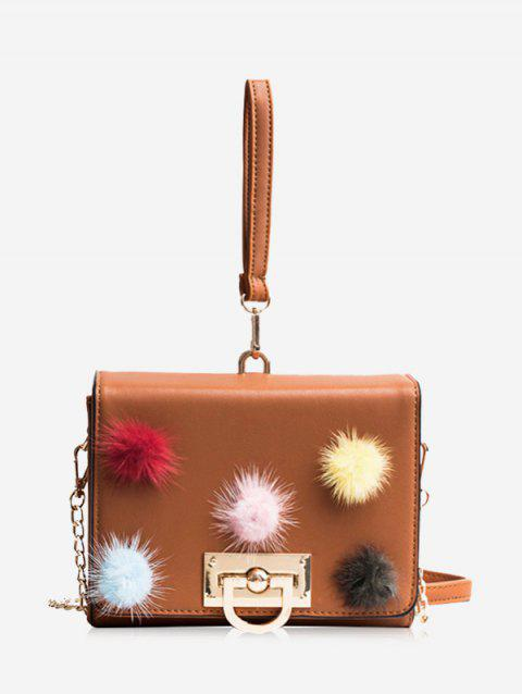 Multi Colors Pompoms Handbag - BROWN