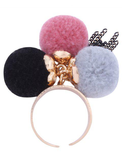 Charm Fuzzy Ball Fringed Chain Cuff Ring - PINK