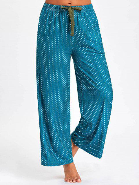 Polka Dot Drawstring Waist PJ Pants - DEEP GREEN XL