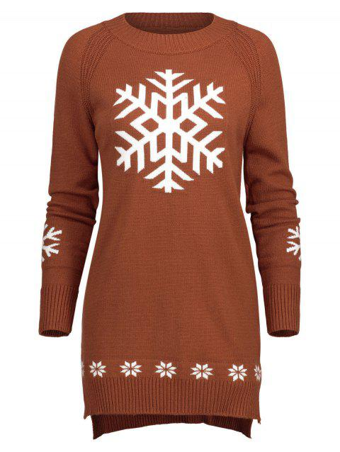 Long Snowflake Sweater - BRICK RED ONE SIZE