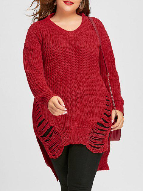 eb967ad46b LIMITED OFFER  2019 Chunky Knit High Low Ripped Plus Size Tunic ...