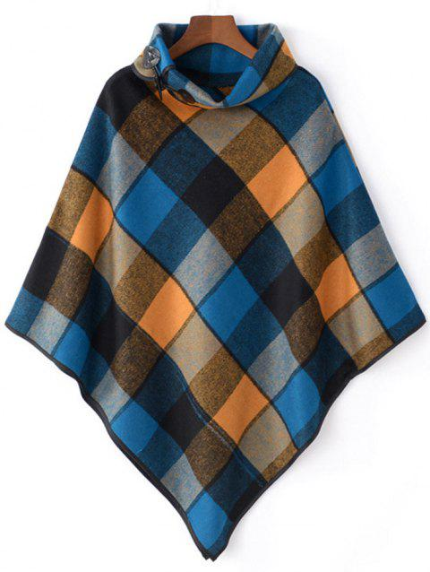 Horn Button Cowl Neck Plaid Cape - BLUE ONE SIZE