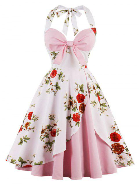Vintage Halter Floral Print Pin Up Dress - PINK M