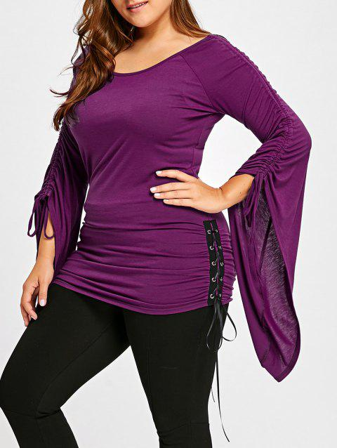 95d34497d3a70 41% OFF  2019 Plus Size Ruched Bell Sleeve Top In PURPLE 2XL ...