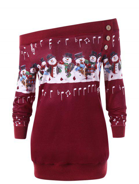 95324ac9e8b Plus Size Christmas Snowman Off The Shoulder Sweatshirt - RED 5XL