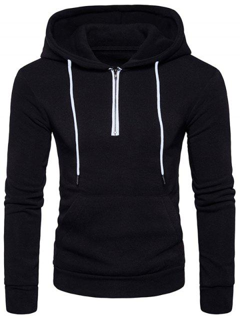 Pouch Pocket Half Zip Fleece Pullover Hoodie - BLACK S