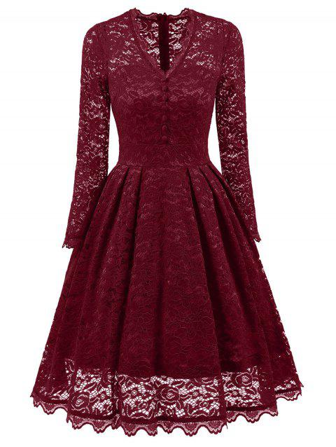 Party Vintage A Line Lace Dress - WINE RED M