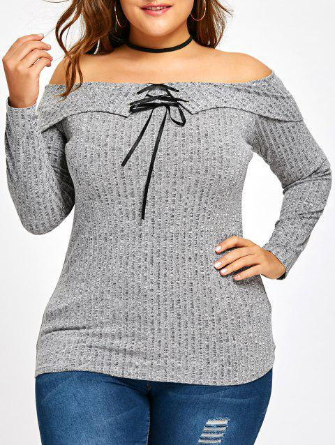 Plus Size Lace Up Off The Shoulder Knitwear - GRAY 5XL