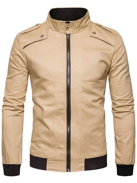 Stand Collar Epaulet Rib Panel Zip Up Jacket - KHAKI L