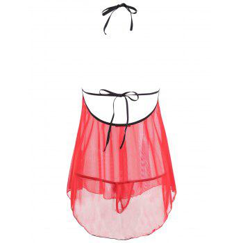 Mesh Sheer Open Back Split Babydoll - RED RED