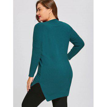 Drop Shoulder High Low Plus Size Tunic Sweater - PEACOCK BLUE 4XL