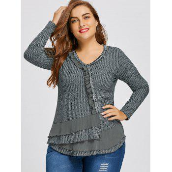 Ribbed Plus Size Ruffle V-neck Sweater - GRAY XL