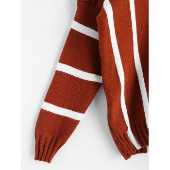 Striped V Neck Batwing Sleeve Sweater - BRICK RED ONE SIZE