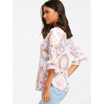 Print Flare Sleeve Smock Top - COLORMIX L