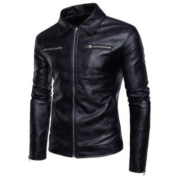 Zip Up PU Leather Jacket - BLACK M