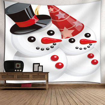 Christmas Snowmen Couple Patterned Wall Decor Tapestry - RED/WHITE W91 INCH * L71 INCH