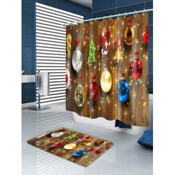 Christmas Baubles Woodgrain Print Waterproof Fabric Shower Curtain - COLORMIX W71 INCH * L79 INCH