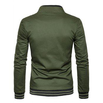 Zip Up Stripe Rib Panel Jacket - ARMY GREEN M