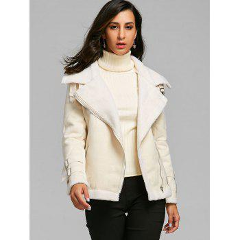 Lapel Oblique Zipper Faux Shearling Coat - OFF WHITE XL