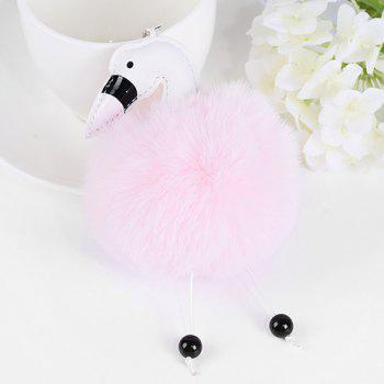 Fuzzy Ball Cute Flamingo Keychain -  PINK
