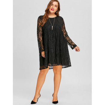 long sleeve lace plus size shift dress, black, xl in plus size