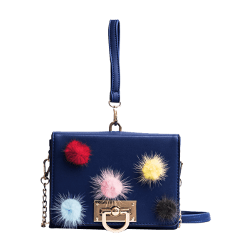 Multi Colors Pompoms Handbag - BLUE