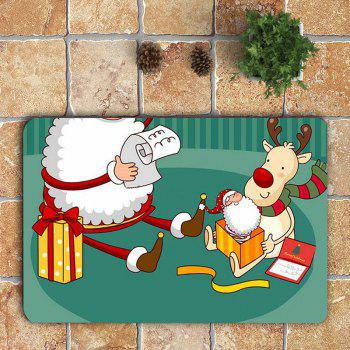 3Pcs Cartoon Father Christmas Printed Bathroom Mats Set - COLORFUL