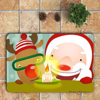 3Pcs Cute Santa Claus and Elk Pattern Bathroom Mats Set - COLORFUL