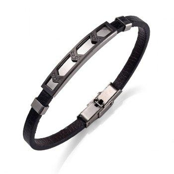 Artificial Leather Stainless Steel Cool Bracelet - BLACK BLACK