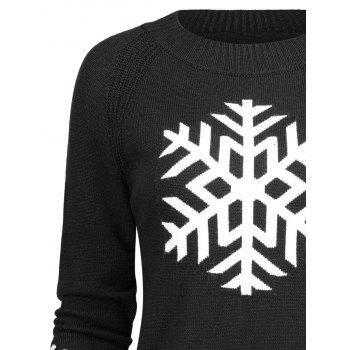 Long Snowflake Sweater - BLACK ONE SIZE