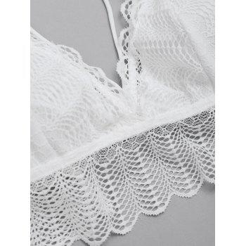 Flounce Caged Sheer Lace Bra and Thong Set - WHITE S