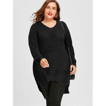 Chunky Knit High Low Ripped Plus Size Tunic Sweater - BLACK 3XL