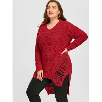 Chunky Knit High Low Ripped Plus Size Tunic Sweater - RED 3XL