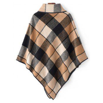 Horn Button Cowl Neck Plaid Cape - KHAKI ONE SIZE