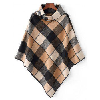 Horn Button Cowl Neck Plaid Cape