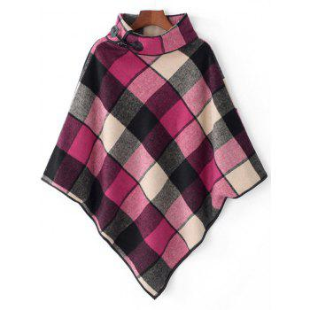 Horn Button Cowl Neck Plaid Cape - ROSE RED ROSE RED