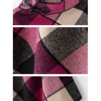 Horn Button Cowl Neck Plaid Cape - ROSE RED ONE SIZE