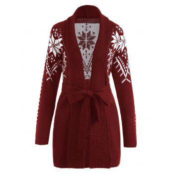 Shawl Collar Snowflake Jacquard Wrap Cardigan - WINE RED L