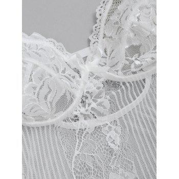 Backless See Through Lace Lingerie Teddy - WHITE S