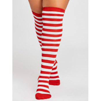 Striped Pattern Color Splice Thigh High Socks - RED RED