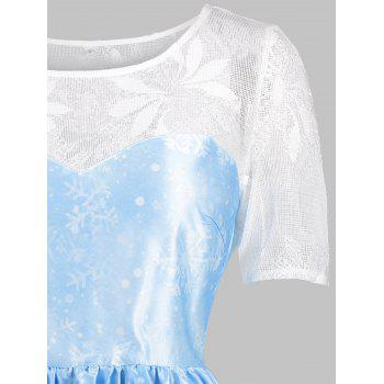 Christmas Snowflake Lace Yoke Vintage Dress - BLUE S