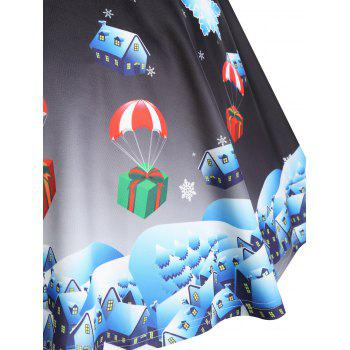 Christmas Santa Claus Gift Print Plus Size Skirt - BLACK 2XL
