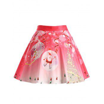 Christmas Tree Santa Claus Plus Size Skirt - WATERMELON RED XL