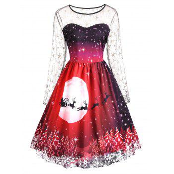 Plus Size Christmas Print Mesh Insert Dress