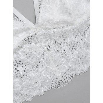 See Through Caged Lace Bra Top - WHITE L