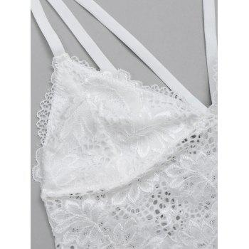 See Through Caged Lace Bra Top - WHITE M