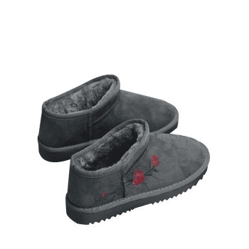 Floral Embroidered Snow Boots - GRAY 39