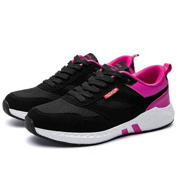 Striped Color Block Sneakers - BLACK / ROSE 36
