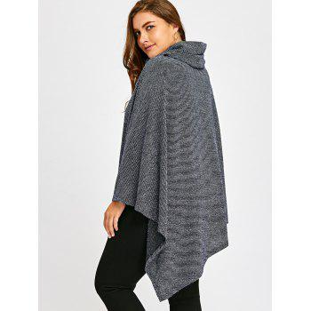Plus Size Cowl Neck Asymmetrical Poncho Top - BLUE GRAY XL